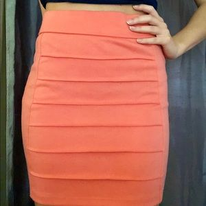 Coral pink pencil skirt
